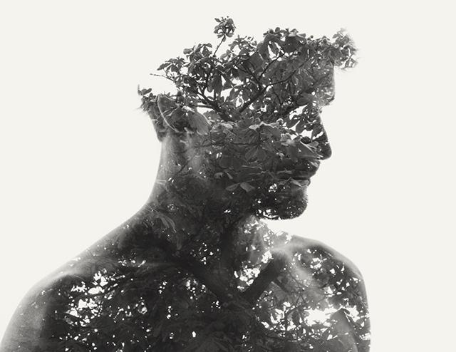 Mann mit Kastanienbaum überlagert
