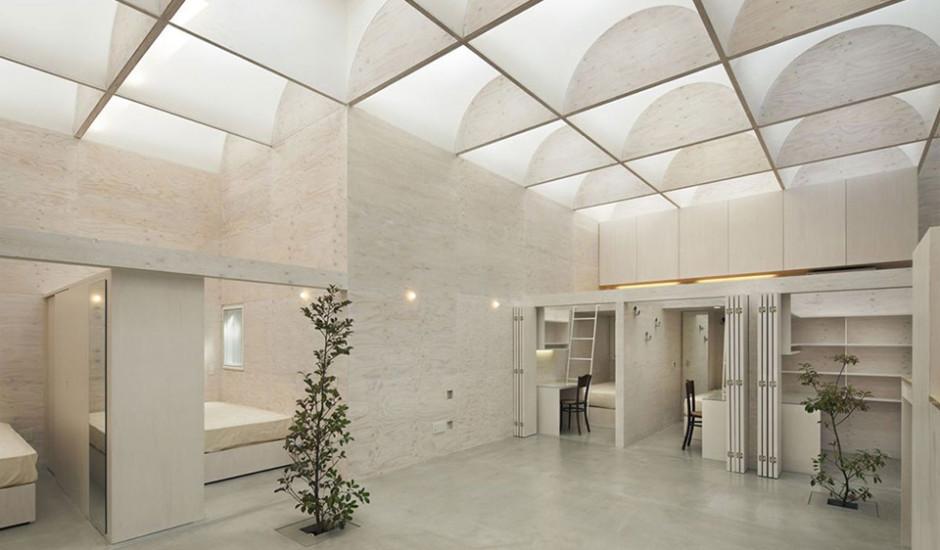Wohnraum mit Inneneinsicht der Zimmer