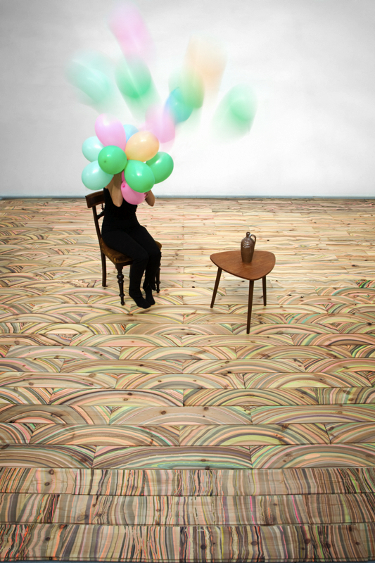 Pernille Snedker Hansen_Marbelous Wood Floor_flying balloons